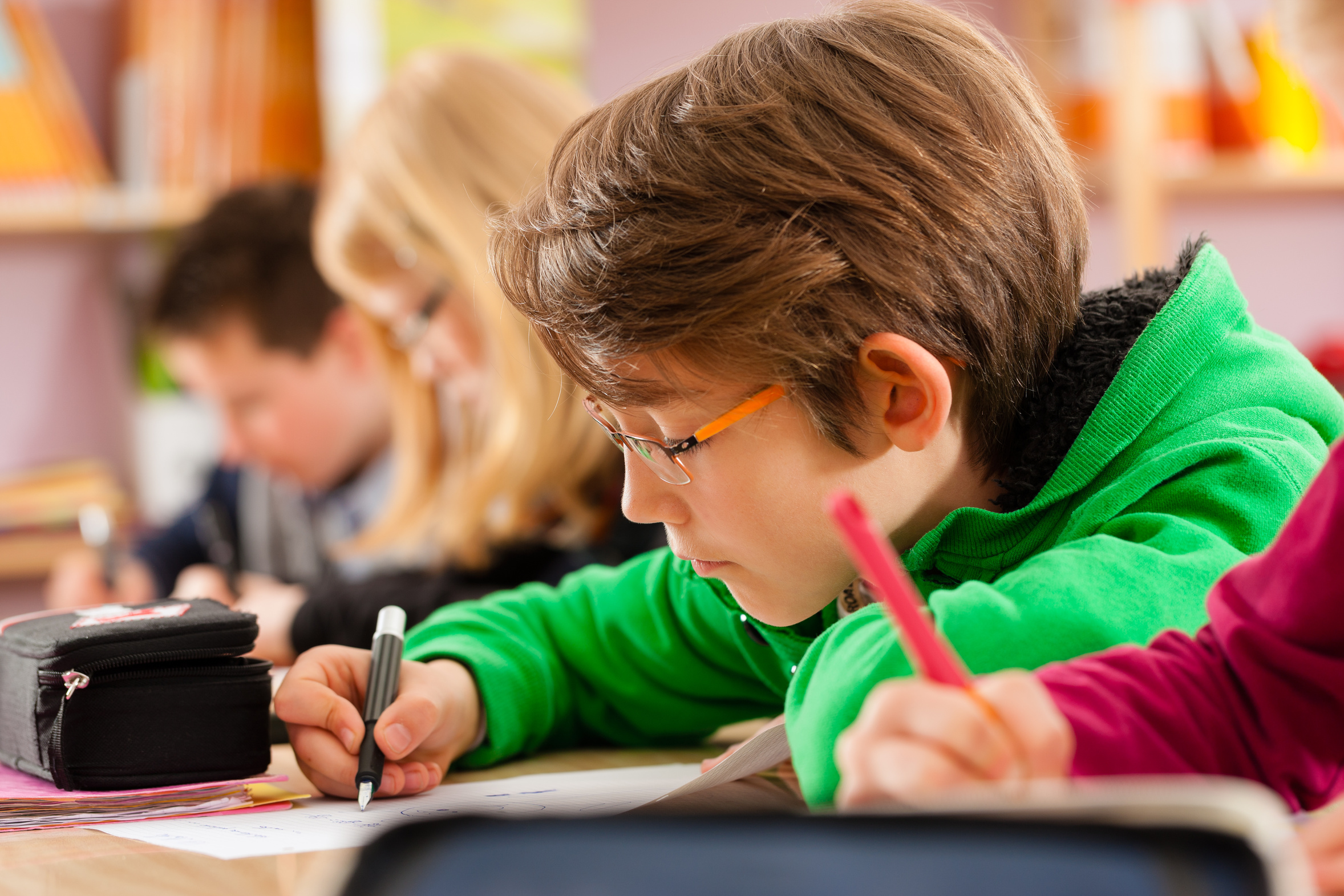 Pupils at school doing their homework